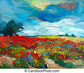 Original oil painting of fields of flowers on canvas. Country landscape. Modern Impressionism