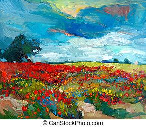 Flower fields - Original oil painting of fields of flowers ...