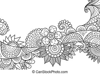 Doodled flowers flow for adult coloring book page and design element. Stock Vecter