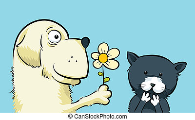 Flower for Kitty - A friendly cartoon dog offers a kitten a...