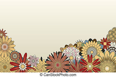 Editable vector foreground of various generic flowers