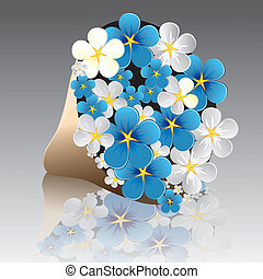 Flower forget-me-not in package on gray background with reflection. Vector version of this image also available in my portfolio