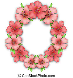Flower frame border. Bouquet of pink pastel azalea...