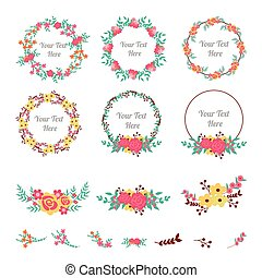 Flower frame collection. Set of cute flowers arranged a shape of the wreath for wedding invitations or birthday cards