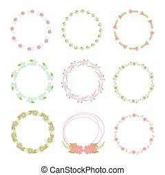 Flower frame collection. Set of cute retro flowers arranged a shape of the wreath for wedding invitations or birthday cards