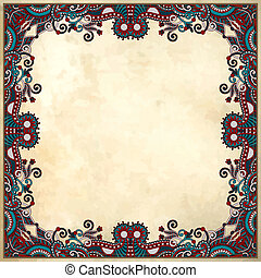 flower frame design on grunge background