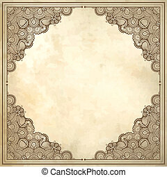 flower frame design on grunge background,