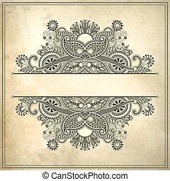 flower frame design on grunge background