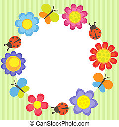 Flower frame - Frame with flowers, ladybugs and butterflies