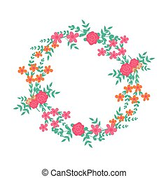 Flower frame. Flowers arranged a shape of the wreath for wedding invitations or birthday cards