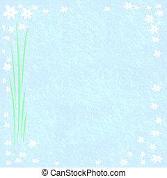 flower frame on blue