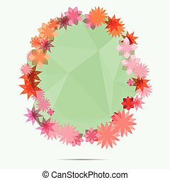 flower frame on green abstract background