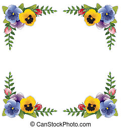 Flower Frame, Pansies and Roses - Victorian flower frame...