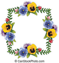 Victorian flower frame with pansies and roses. Copy space for your text or picture. Traditional for gift tag, card, label or announcement for celebrations, holidays, scrapbooks, albums. EPS8 compatible.