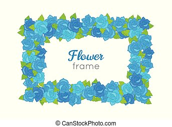 Flower Frame. Rectangular Wreath with Blossoms