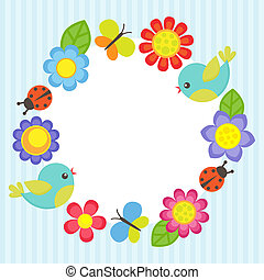 Flower frame - Frame with flowers, birds, ladybugs and...