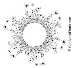 Flower frame with dandelion black whimsical design