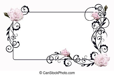 flower frame with rose