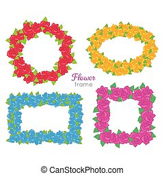 Flower Frame. Wreath Sets of Various Blossoms