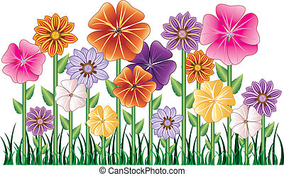 Flower Garden - Vector illstration of a Flower Garden with...