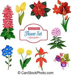 Flower, garden flowering plant isolated icon set