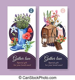 Flower garden flyer design with a boot, spade, flowers watercolor illustration.