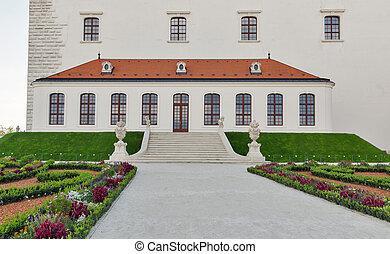 Flower garden in Castle. Bratislava, Slovakia.