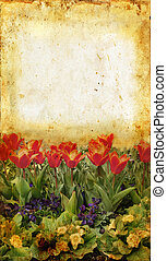 Flower Garden on grunge background