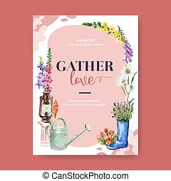 Flower garden poster design with watering pot, a boot, flowers watercolor illustration.