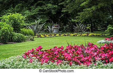 Flower Garden - Beautiful manicured flower garden with...
