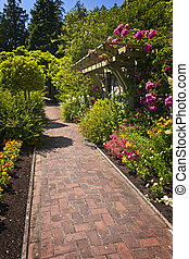Flower garden with paved path