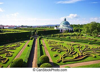 Flower gardens in Kromeriz, Czech Republic - Flower gardens...