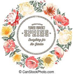 Flower garland. - Border of spring flowers in vintage style....
