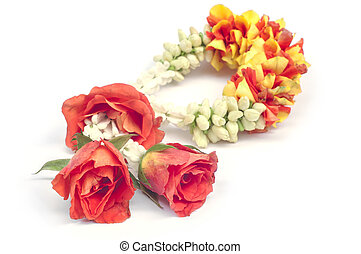 Flower garland isolated.