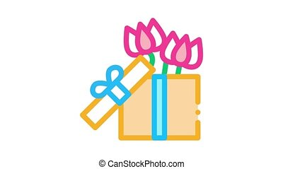 flower gift box Icon Animation