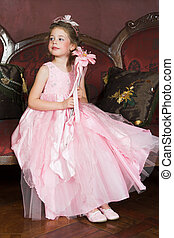 Flower Girl - Blond Flower girl wearing a pink dress with ...