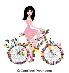 flower girl on bike