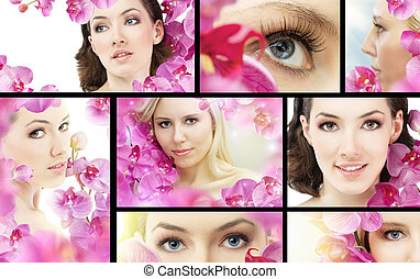flower girl - beauty flower woman. ( lot images collage )