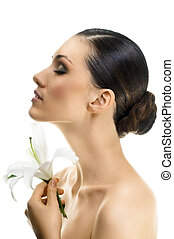 flower girl - a beauty girl on the white background