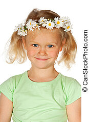 flower girl -  Portrait of a flower girl with daisies