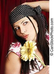 Flower girl - Woman with yellow gerbera