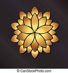Flower golden mandala. Vector logo