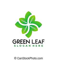 Flower Green Leaves logo Design vector illustration