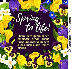 Flower greeting card with spring floral wreath