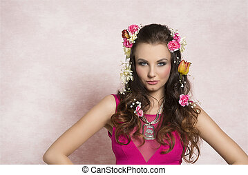 Flower hairstyle - Beautiful, charming, fresh brunette woman...