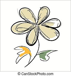 Flower hand drawn on the white background.
