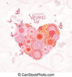 flower heart on shabby chic background. lovely chrysanthemums fo