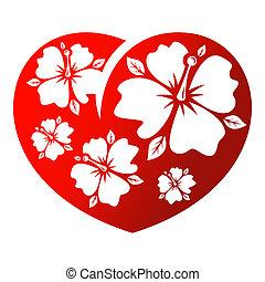 Flower heart - Red flower heart isolated on white background