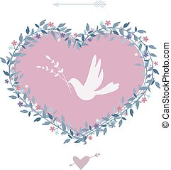 Flower heart with bird. Vintage design elements. Vector.