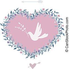 Flower heart with bird. Vintage design elements. Vector.